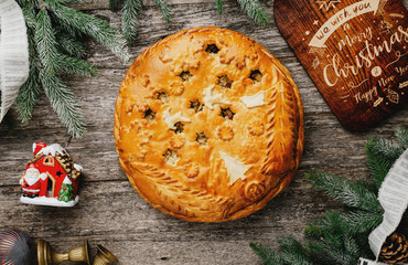 Christmas apple pie on the table