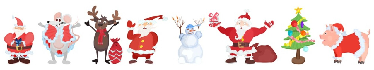 New Year characters. selection santa claus others