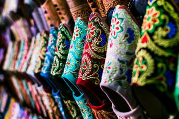 Handmade slippers (babouche) in morocco market.  Fototapete