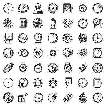 Watch repair icons set. Outline set of watch repair vector icons for web design isolated on white background