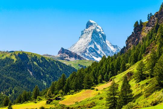 Matterhorn mountain range in Switzerland