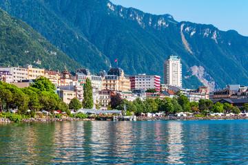 Canvas Prints Ship Montreux town on Lake Geneva