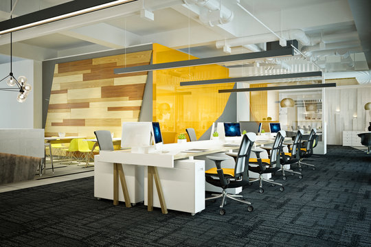 3d render of yellow color modern office