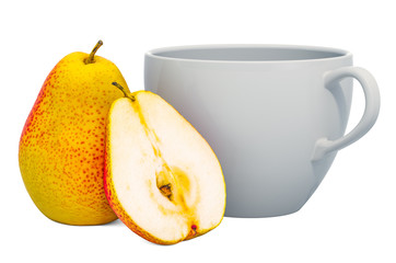 Warm pear drink with fresh pears, 3D rendering