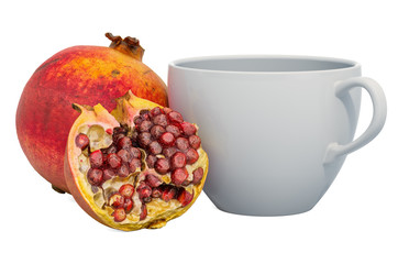 Warm pomegranate drink with fresh pomegranates, 3D rendering