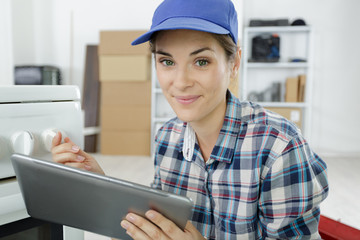 profile view of confident female technician