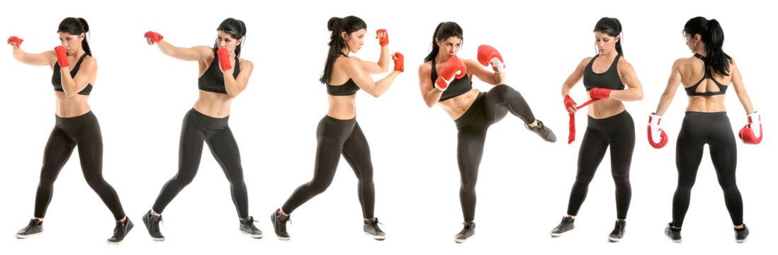Sporty female boxer on white background