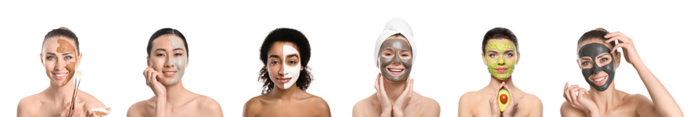Different women with facial masks on white background