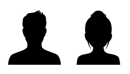 Man and woman head icon silhouette. Male and female avatar profile, face silhouette sign – for stock vector