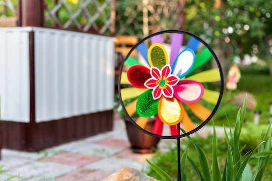 new homemade wind vane in the garden backyard background