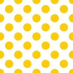 Tile pattern with vector yellow polka dots on white background