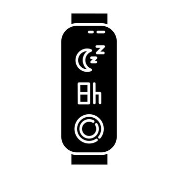 Fitness tracker with sleep time indication glyph icon. Gadget for monitoring night rest duration. Wellness device with relax control. Silhouette symbol. Negative space. Vector isolated illustration