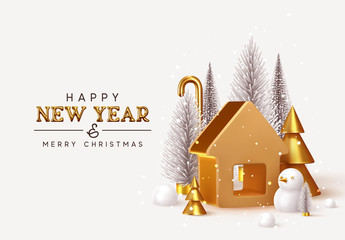 Fotomurales - Happy New Year! Christmas trees lush and 3d golden conical fir, winter snow composition. Gold house. New Year Gold metal volumetric title text. Xmas holiday gift card. Creative stylish background