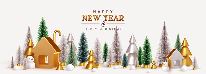 Happy New Year! Christmas trees lush green and silver and 3d golden conical, winter composition. Gold house. New Year Gold metal volume title text. Xmas holiday gift card. Creative stylish background