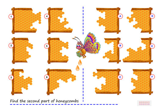 Logic puzzle game for children and adults. Find the second part of each of honeycombs. Printable page for kids brain teaser book. Developing math, counting and spatial thinking skills. IQ test.
