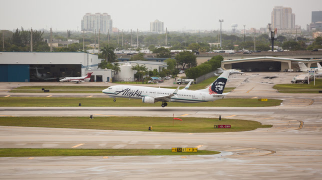 Fort Lauderdale, USA - May 28, 2017: Alaska Airlines aircraft (Boeing 737) arriving at the Fort Lauderdale/Hollywood International Airport.