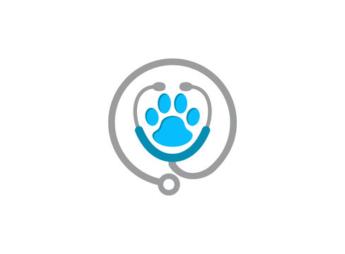 Stethoscope paw silhouette with animal print symbol icon design illustration isolated on white background