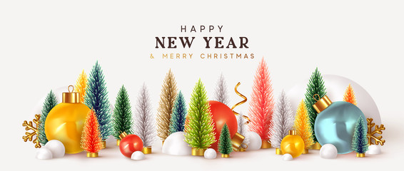 Fotomurales - Happy New Year. Xmas design background, Christmas trees, Decorative balls, snow drifts. Holiday gift card, Festive poster, web banner, header for website. Winter season with traditional elements.