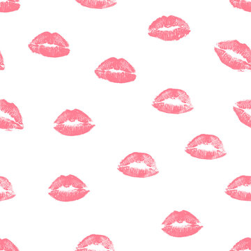 Seamless pattern pink lips kisses prints. Valentines day background