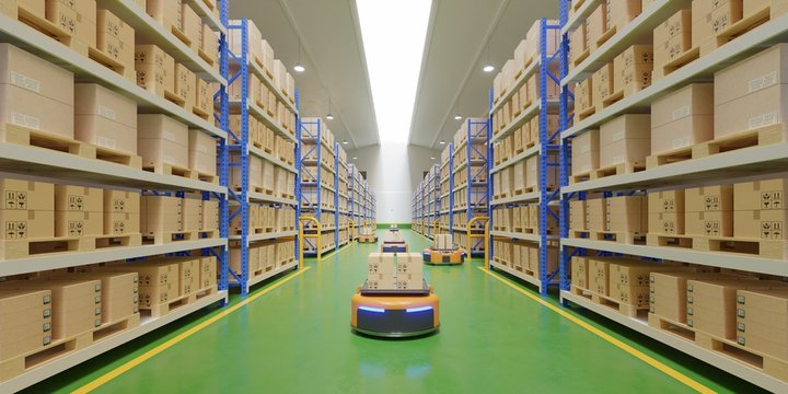 Interior of warehouse in logistic center with Automated guided vehicle Is a delivery vehicle.