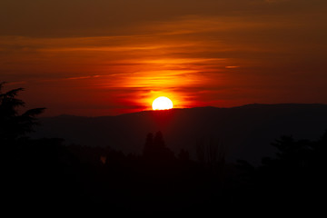Sunset and mountains in Santiago de Compostela, Spain
