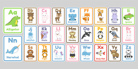 Cute kawaii animals alphabet letters for kids