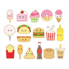 Cute kawaii junk food drawing illustration