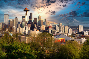 City of Seattle Washington during late summer evening Wall mural