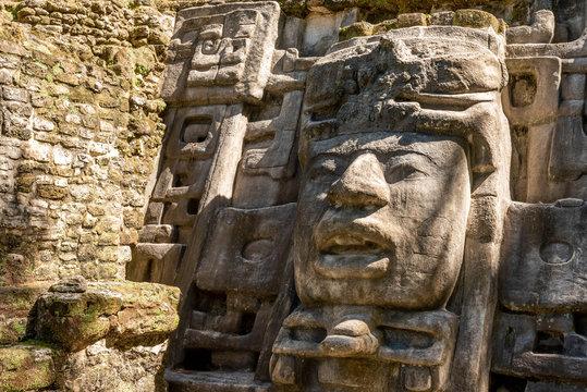 Mayan Mask temple at Lamanai in Northern Belize.