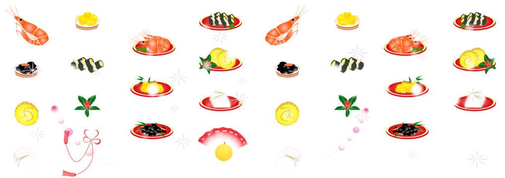 お節料理とお正月の縁起物のイラスト白背景素材