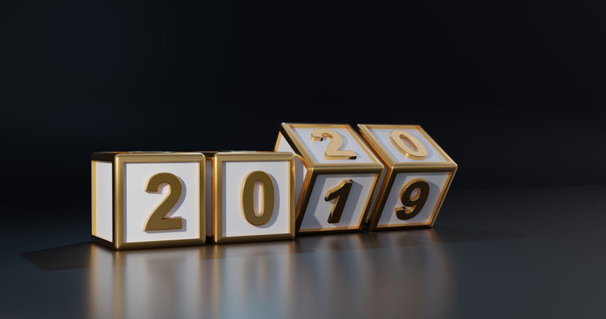 Cubes with gold number 2020. Concept of New year 2020 change to 2019. 3d background of black color design. 3d render illustration.