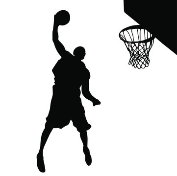 Vector silhouette of a basketball player dunking the ball.