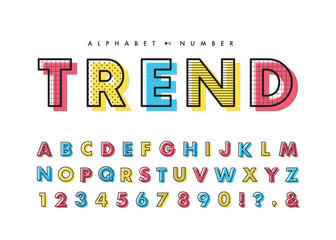 Memphis alphabet & number set. Vector decorative pattern typography. Font collection for headline or title design of poster, brochure, scrapbook or print.