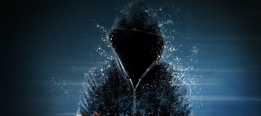 Cybersecurity, computer hacker with hoodie