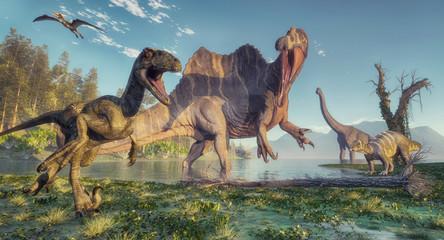 Spinosaurus and deinonychus Wall mural