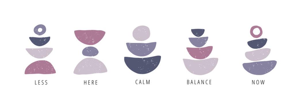 Balance, calm, now flat vector posters set