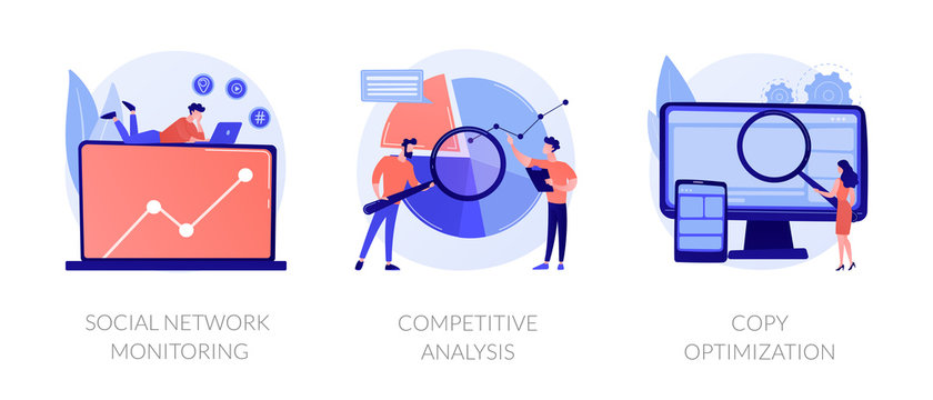 Internet advertisement analytics icons set. SEO solutions search. Social network monitoring, competitive analysis, copy optimization metaphors. Vector isolated concept metaphor illustrations.