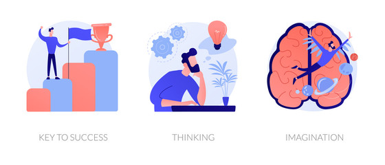 Creative entrepreneurship icons set. Business growth, creative planning, innovative development. Key to success, thinking, imagination metaphors. Vector isolated concept metaphor illustrations Wall mural
