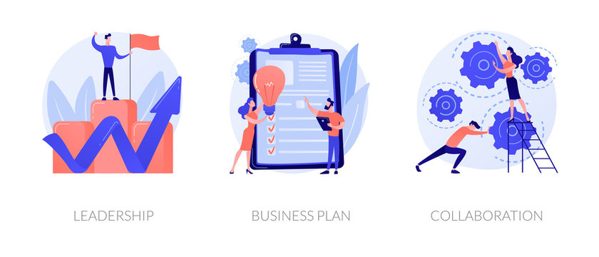 Business success basics icons set. Company work principles, productivity guarantee. Leadership, business plan, collaboration metaphors. Vector isolated concept metaphor illustrations.