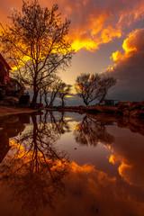 Foto auf Leinwand Braun sunset in reflection