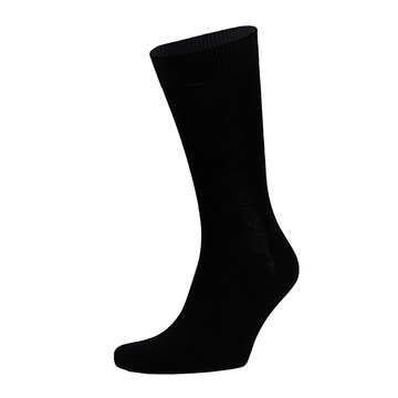 Blank black cotton long sock on invisible foot isolated on white background as mock up for advertising, branding, design, front view, template.
