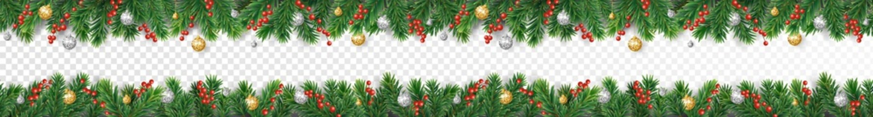 Wall Mural - Vector Christmas decoration. Christmas tree border with holly berry and ornaments