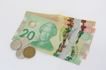 Traditional Canadian money: bills and coins