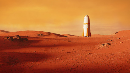 Foto auf AluDibond Rot kubanischen landscape on planet Mars, rocket landing on the red planet