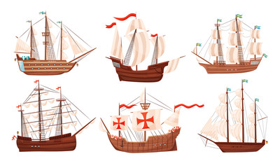 Tuinposter Schip Vintage Sailing Ships Collection, Old Wooden Boats with White Sails Vector Illustration