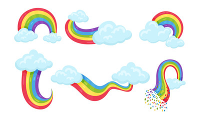 Collection of Bright Colorful Rainbows of Different Shapes with Clouds Vector Illustration