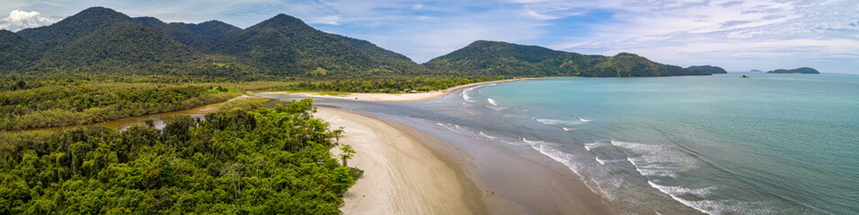 Deurstickers Brazilië coast, trees, sea, panoramic, landscape, vacation, forest, scenic, travel destination, atlantic, ocean, shoreline, waves, sand, beach, turquoise, green, panorama, aerial view, beautiful, river, blue,