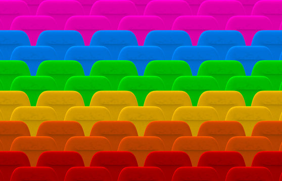 3d rendering. Colorful LGBT cinema seat row background.