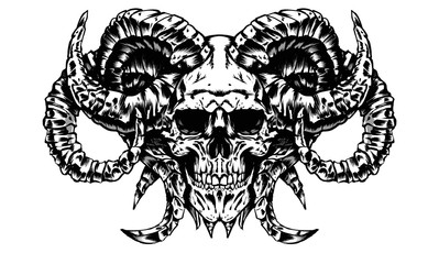 the skull of a demon with many horns