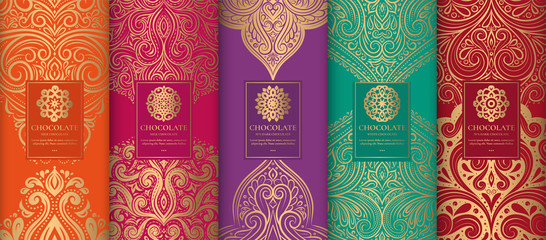 Luxury packaging design of chocolate bars. Vintage vector ornament template. Elegant, classic elements. Great for food, drink and other package types. Can be used for background and wallpaper.